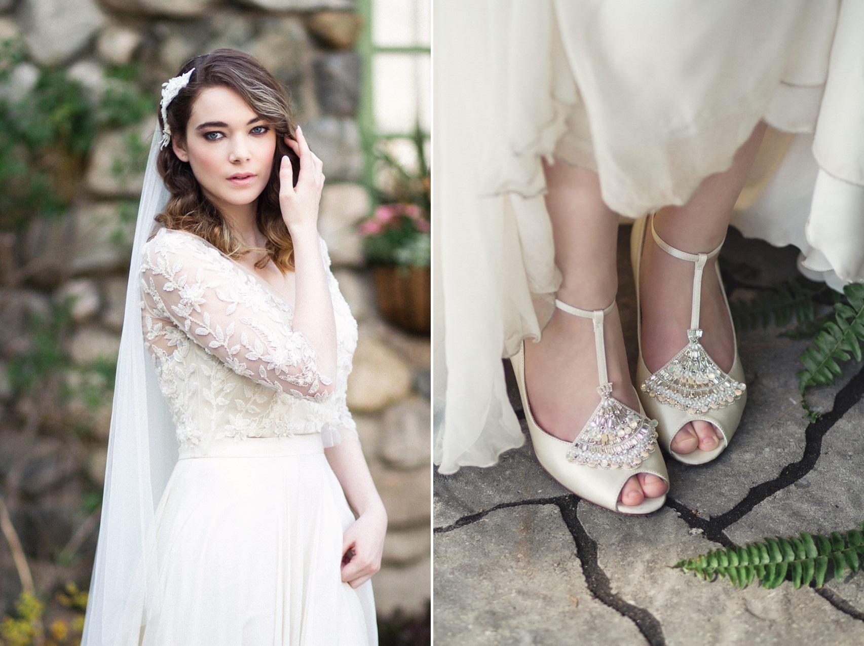 Bridal Veil & Bridal Shoes - Romantic Al Fresco Wedding Ideas Inspired by Tuscany