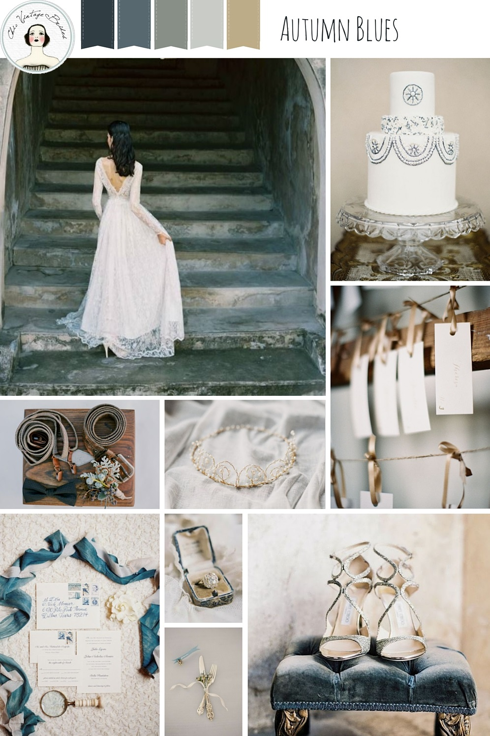 Autumn Blues Wedding Inspiration Board