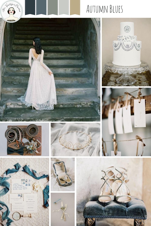 Autumn Blues Wedding Inspiration Board