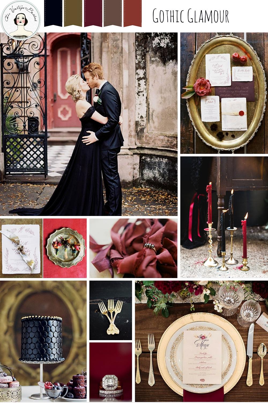 bd93ec3285 Elegant Halloween Wedding Inspiration in Black, Red & Gold : Chic ...