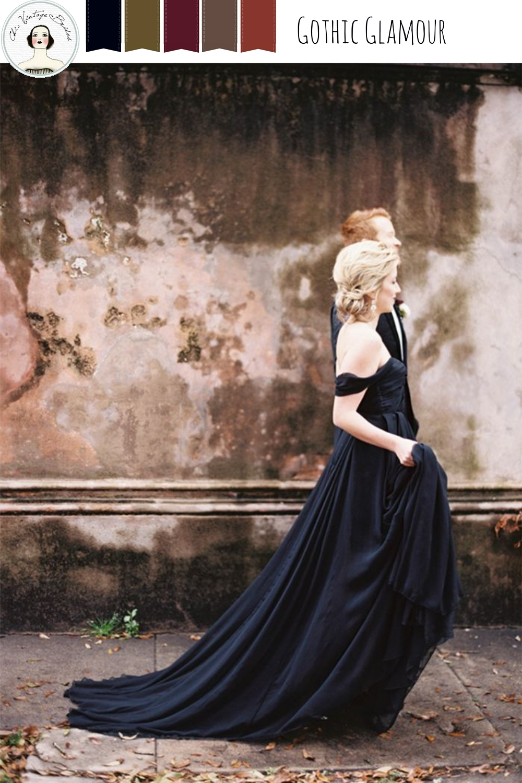 Gothic Glamour - Elegant Halloween Wedding Inspiration in Black, Red & Gold