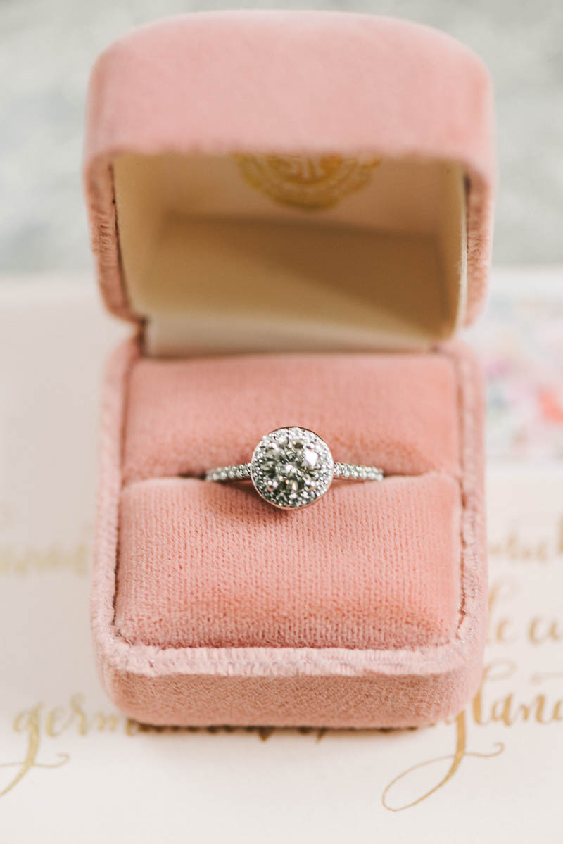 Halo Engagement Ring - A Romantic Vintage Spring Wedding with a Marquee Reception