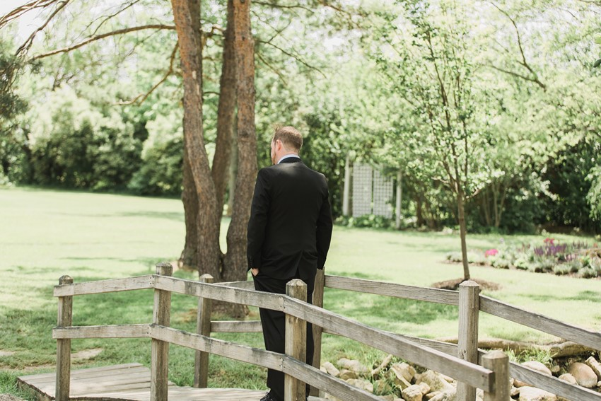 Wedding First Look - A Romantic Modern-Vintage Wedding with an Elegant Barn Reception