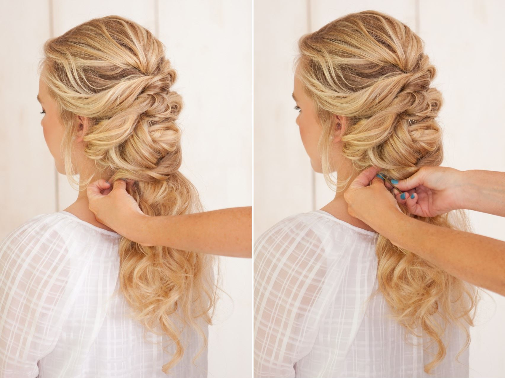 DIY Fancy Twisted French Braid Bridal Updo