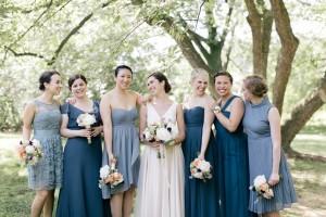 Mismatched Bridesmaids in Blue - An Enchanting Early Summer Garden Wedding