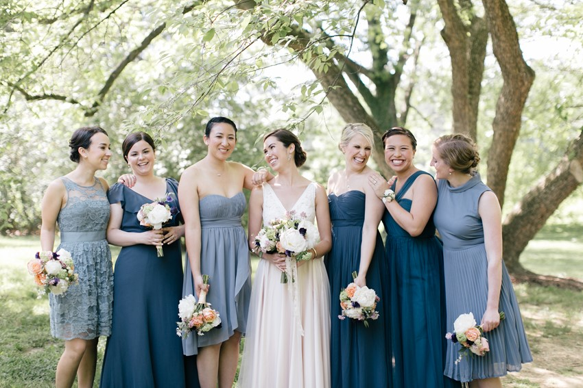Mismatched Bridesmaids in Blue - An Enchanting and Elegant Vintage Garden Wedding