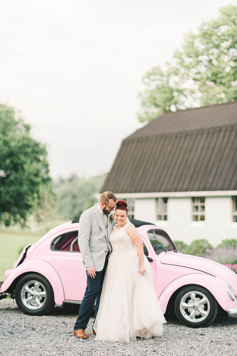 Vintage Pink VW Beetle - A Romantic Vintage Spring Wedding with a Marquee Reception