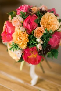 A Pretty Bridal Bouquet of Peonies & Roses