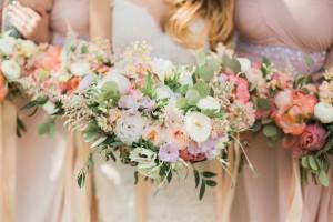 Modern Vintage Bridesmaids - A Romantic Modern-Vintage Wedding with an Elegant Barn Reception