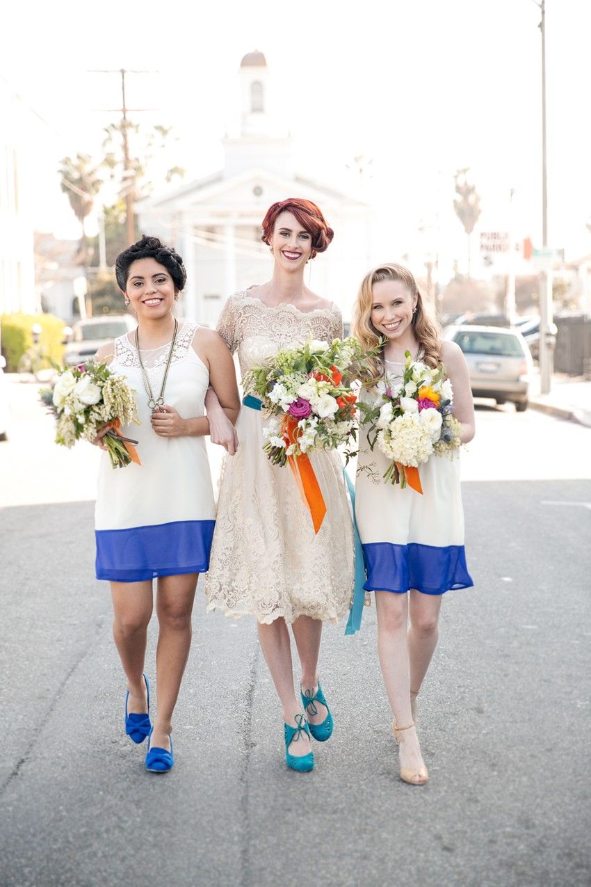 Vintage Bride & Bridesmaids - Mid-Century Vintage Wedding Shoot Inspired by Penguin Books