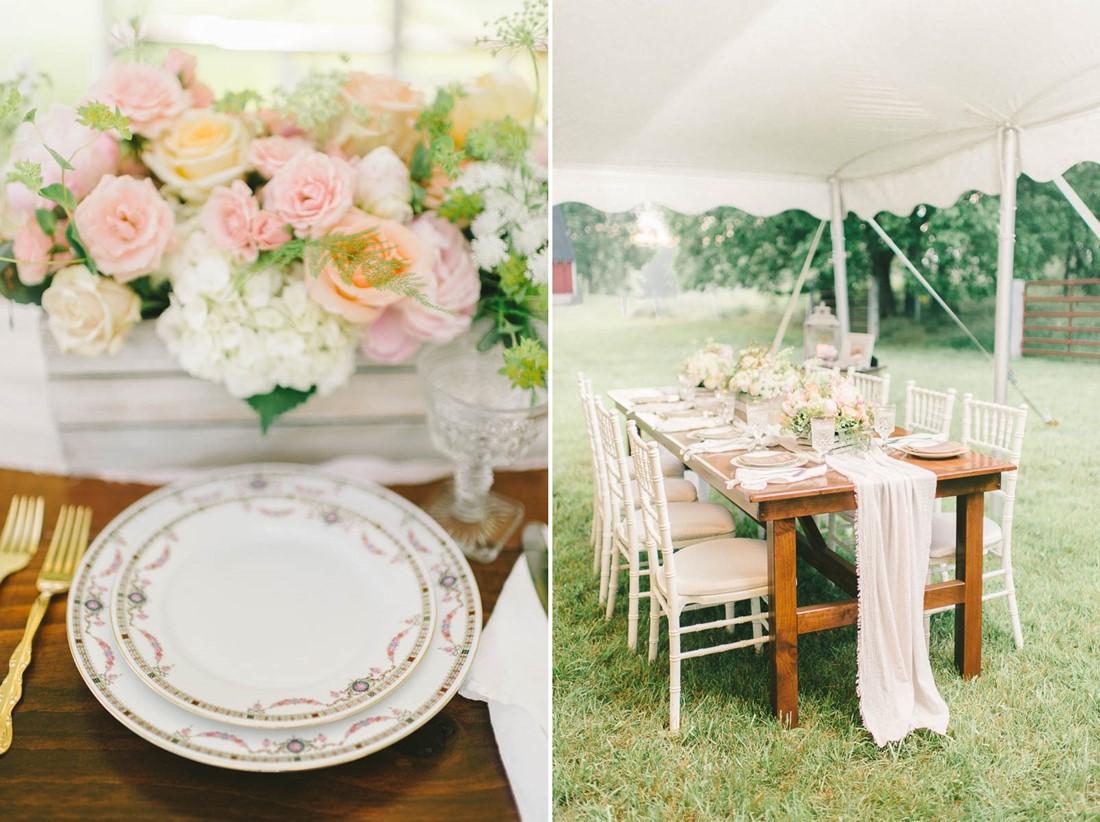 Vintage Wedding Reception Decor - A Romantic Vintage Spring Wedding with a Marquee Reception