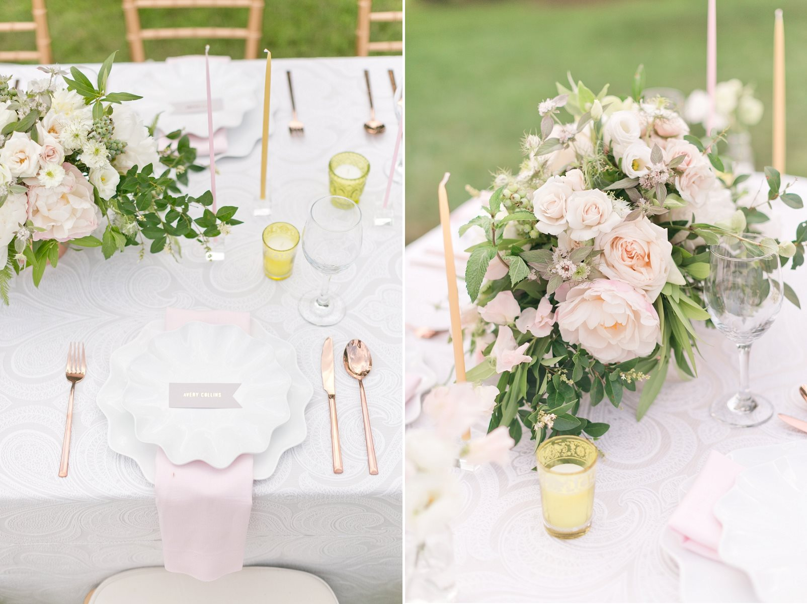 Rose Gold Wedding Centrepiece & Place Setting - Pretty Spring Wedding Ideas in Soft Pastels and Rose Gold