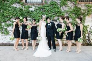 Brides & Bridesmaids in Black Dresses - A Vintage Inspired City Wedding in a Crisp and Elegant Palette of Ivory, Black & Green