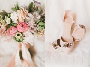 Pink Bridal Shoes - A Romantic Modern-Vintage Wedding with an Elegant Barn Reception