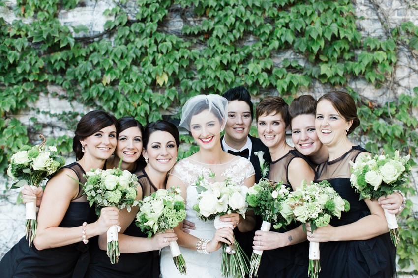 Brides & Bridesmaids - A Vintage Inspired City Wedding in a Crisp and Elegant Palette of Ivory, Black & Green