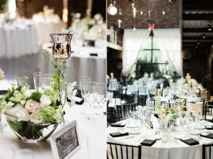Wedding Centrepieces - A Vintage Inspired City Wedding in a Crisp and Elegant Palette of Ivory, Black & Green