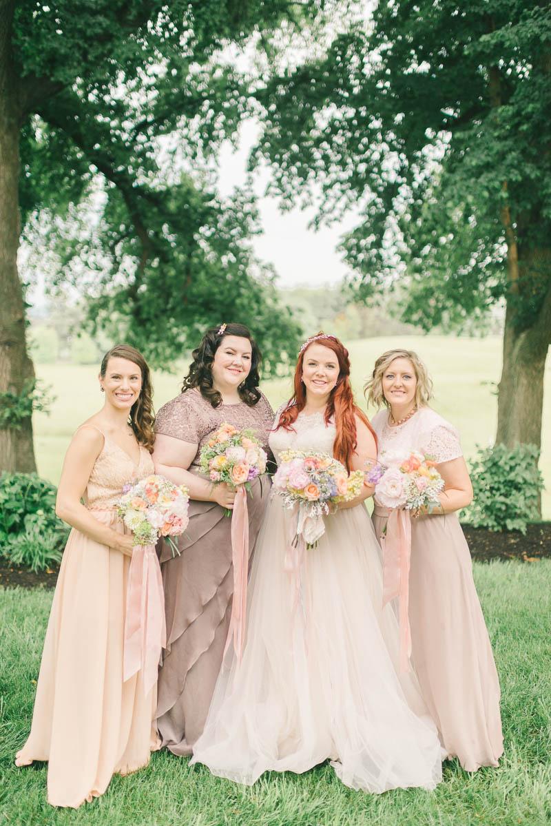 Vintage Bride & Bridesmaids - A Romantic Vintage Spring Wedding Photography by Elizabeth Fogarty http://elizabethfogartyphotography.com/