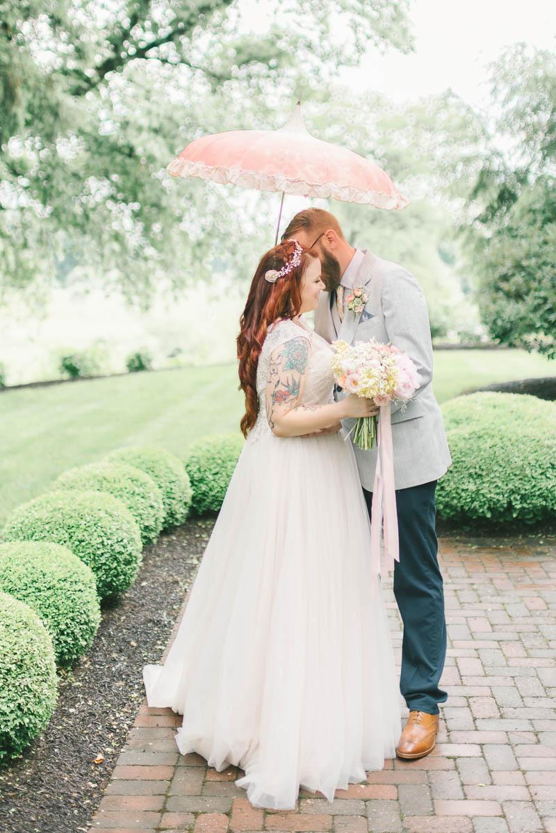 Romantic Bride & Groom Portrait - A Romantic Vintage Spring Wedding