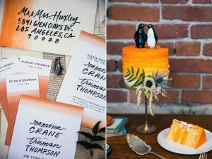 Orange Wedding Cake - Mid-Century Vintage Wedding Shoot Inspired by Penguin Books