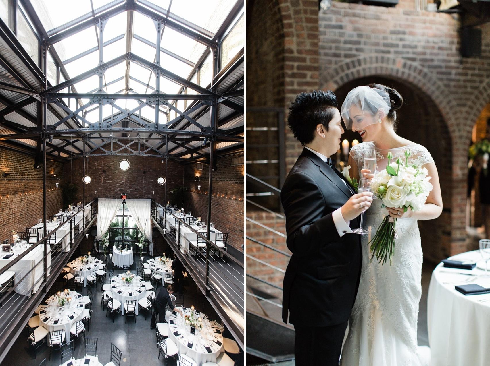 Elegant Same Sex Wedding - A Vintage Inspired City Wedding in a Crisp and Elegant Palette of Ivory, Black & Green