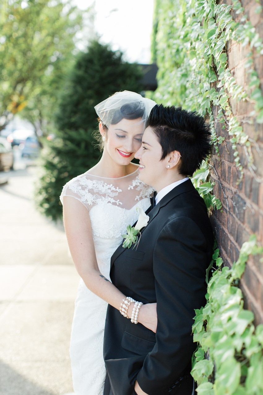 Vintage Gay Wedding - A Vintage Inspired City Wedding in a Crisp and Elegant Palette of Ivory, Black & Green