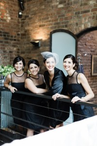 Bride & Bridesmaid Getting Ready Portrait - A Vintage Inspired City Wedding in a Crisp and Elegant Palette of Ivory, Black & Green