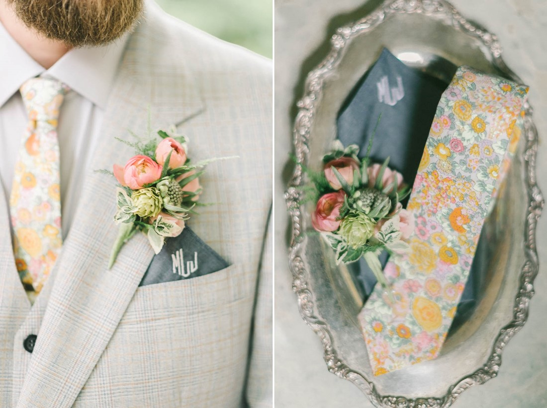 Groom's Boutonniere - A Romantic Vintage Spring Wedding with a Marquee Reception