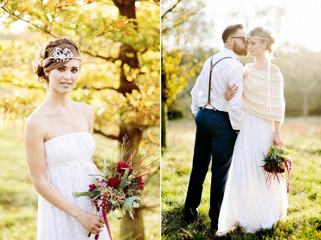 Autumn Bride & Groom - Picnic in the Woods - Cozy and Romantic Autumn Wedding Inspiration