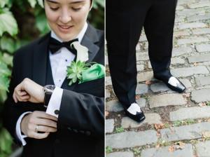 Dapper Gay Bride - A Vintage Inspired City Wedding in a Crisp and Elegant Palette of Ivory, Black & Green
