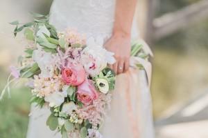 Modern Vintage Cascading Bridal Bouquet - A Romantic Modern-Vintage Wedding with an Elegant Barn Reception