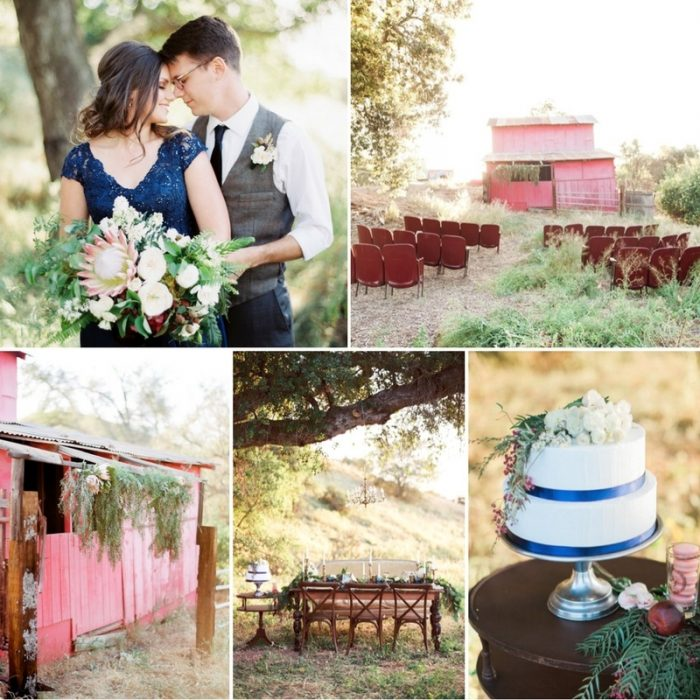 Rustic Autumn Wedding Inspiration in a Stunning Palette of Cobalt & Crimson