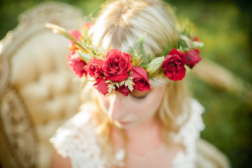 Rose Flower Crown - Boho Vintage Wedding Inspiration in Red, Green & Gold