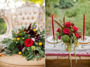 Red Vintage Wedding Decor - Boho Vintage Wedding Inspiration in Red, Green & Gold