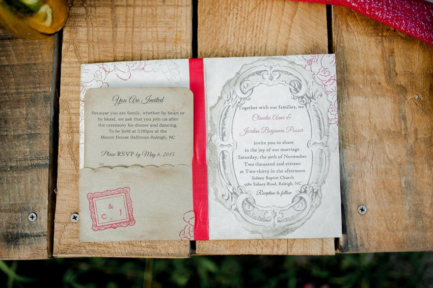 Vintage Wedding Stationery - Boho Vintage Wedding Inspiration in Red, Green & Gold