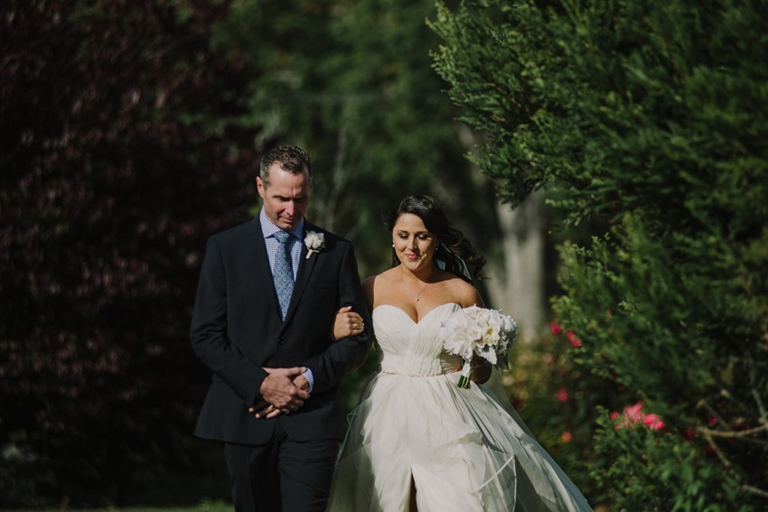 Bride & Father - An Intimate Outdoor Wedding in a Romantic Palette of Pink