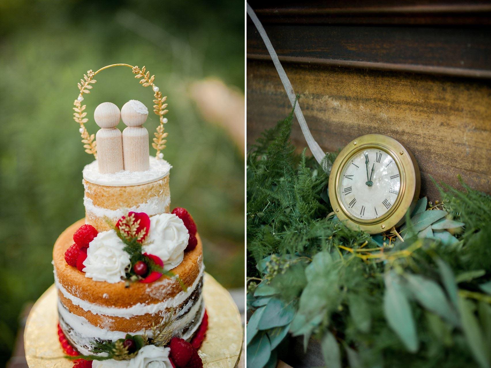 Wedding Cake Topper - Boho Vintage Wedding Inspiration in Red, Green & Gold