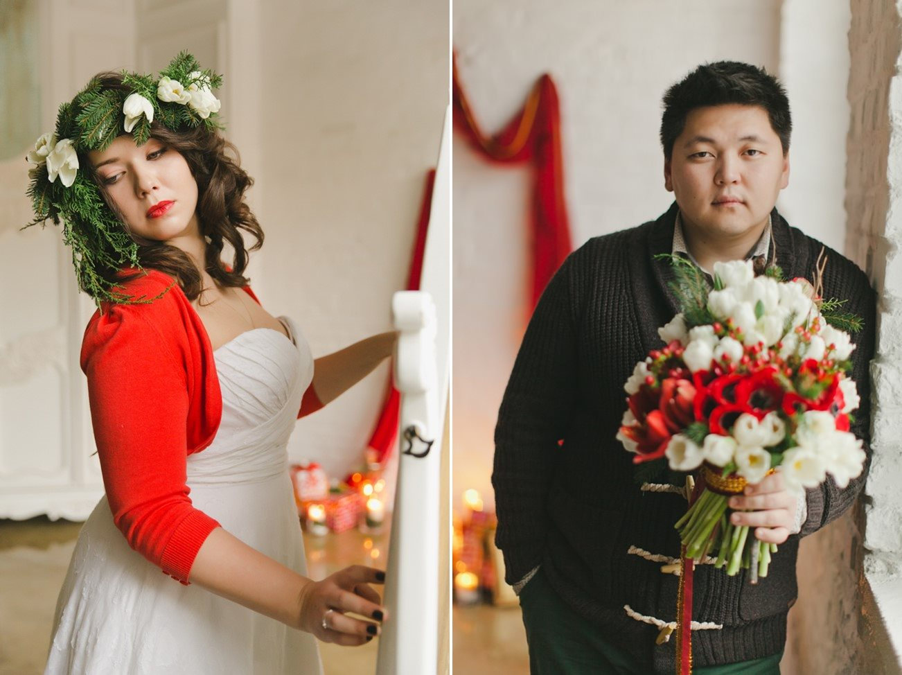 Christmas Bride & Groom - A Cosy Christmas Wedding Inspiration Shoot in Red, Green & White from WarmPhoto