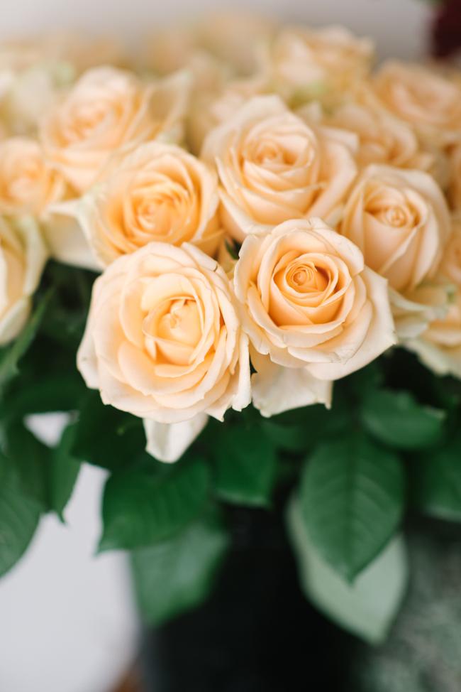 Peach Avalanche Roses - An Organic Hand-Tied Bridal Bouquet in Blush, Peach & Marsala