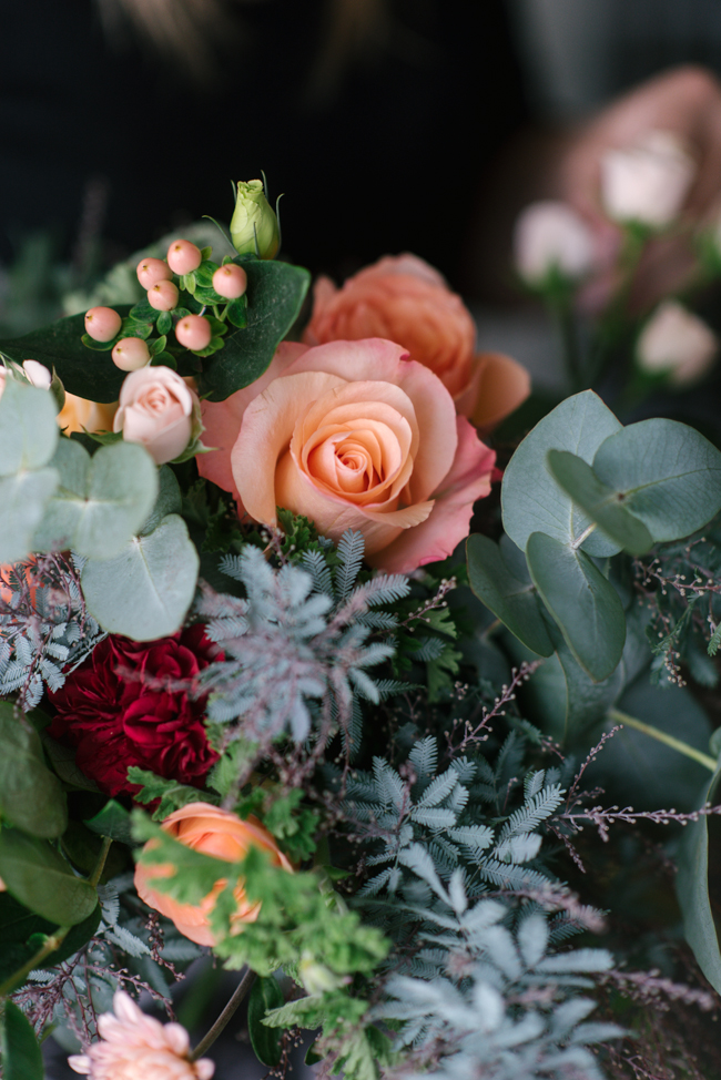 An Organic Hand-Tied Bridal Bouquet in Blush, Peach & Marsala
