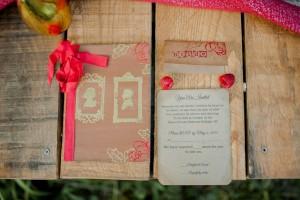 Wedding Stationery - Boho Vintage Wedding Inspiration in Red, Green & Gold