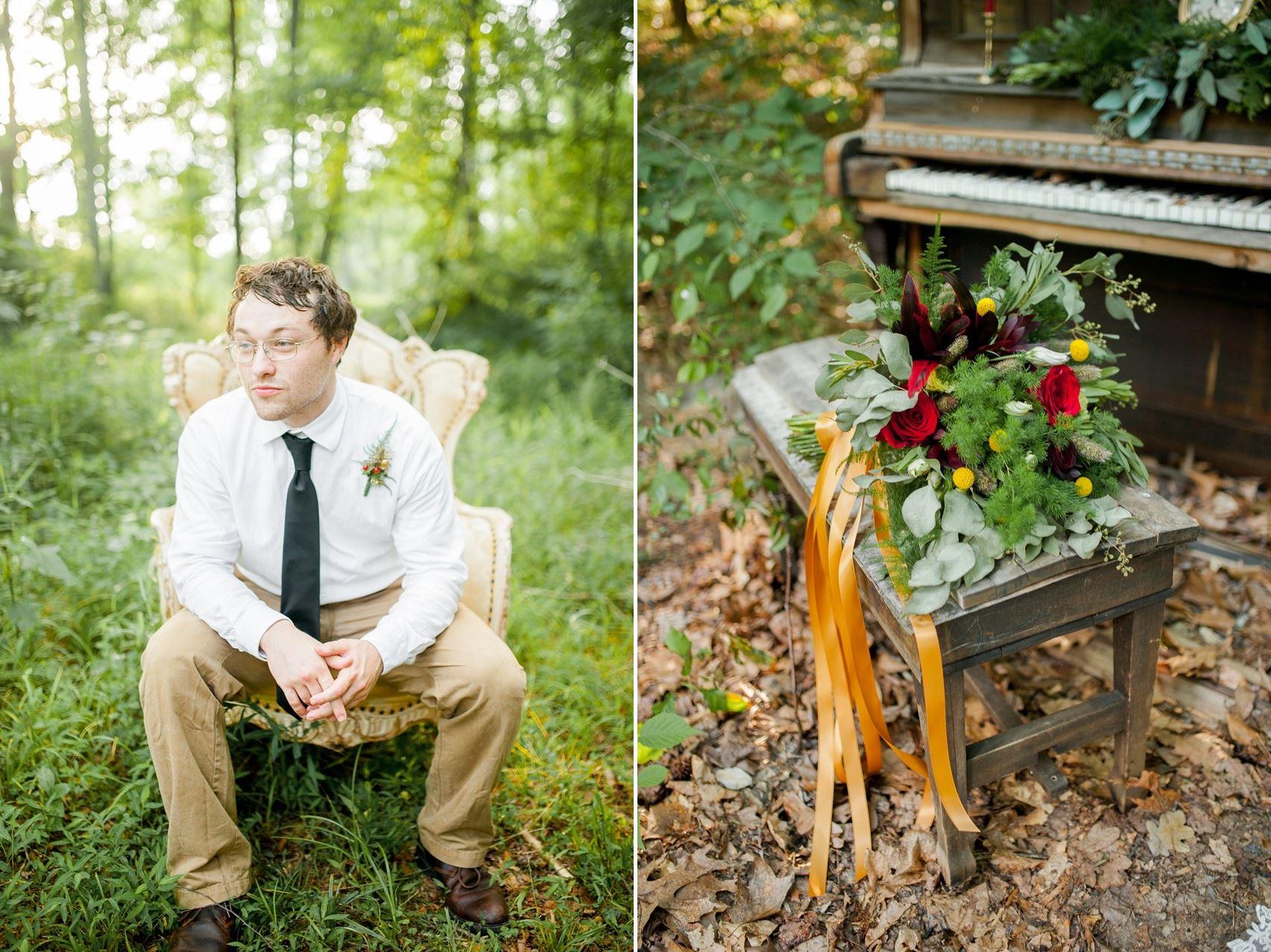 Vintage Groom - Boho Vintage Wedding Inspiration in Red, Green & Gold