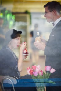 The Sweetest Vintage Engagement Shoot at an Ice-cream Parlour