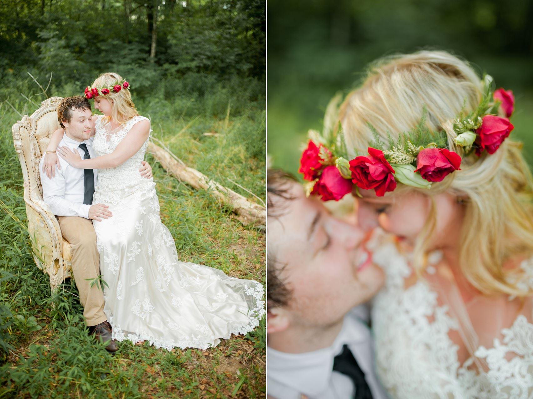Bride & Groom - Boho Vintage Wedding Inspiration in Red, Green & Gold
