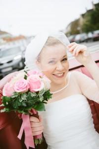 Pillbox Bridal Headpiece & Birdcage Veil - A Sweet 1950s Infused Wedding with a Jackie Kennedy Inspired Wedding Dress