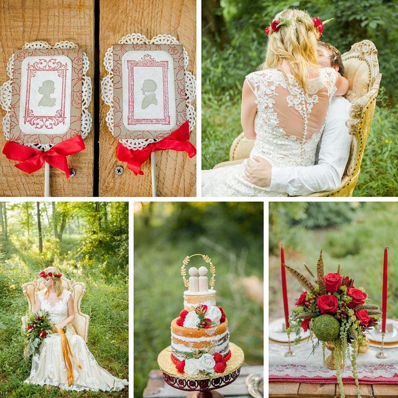 Boho Vintage Wedding Inspiration in Red, Green & Gold