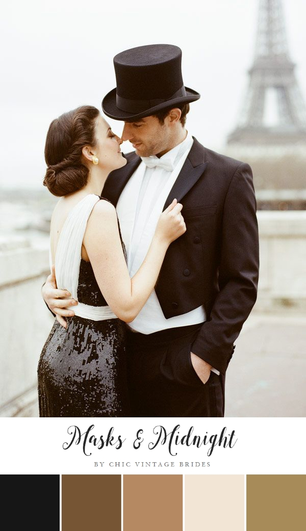 Masks & Midnight - Glamorous New Years Eve Wedding Ideas in Black & Gold
