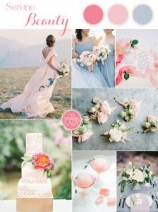 Serene Beauty - Romantic Wedding Inspiration in Rose Quartz & Serenity Blue by Hey Wedding Lady