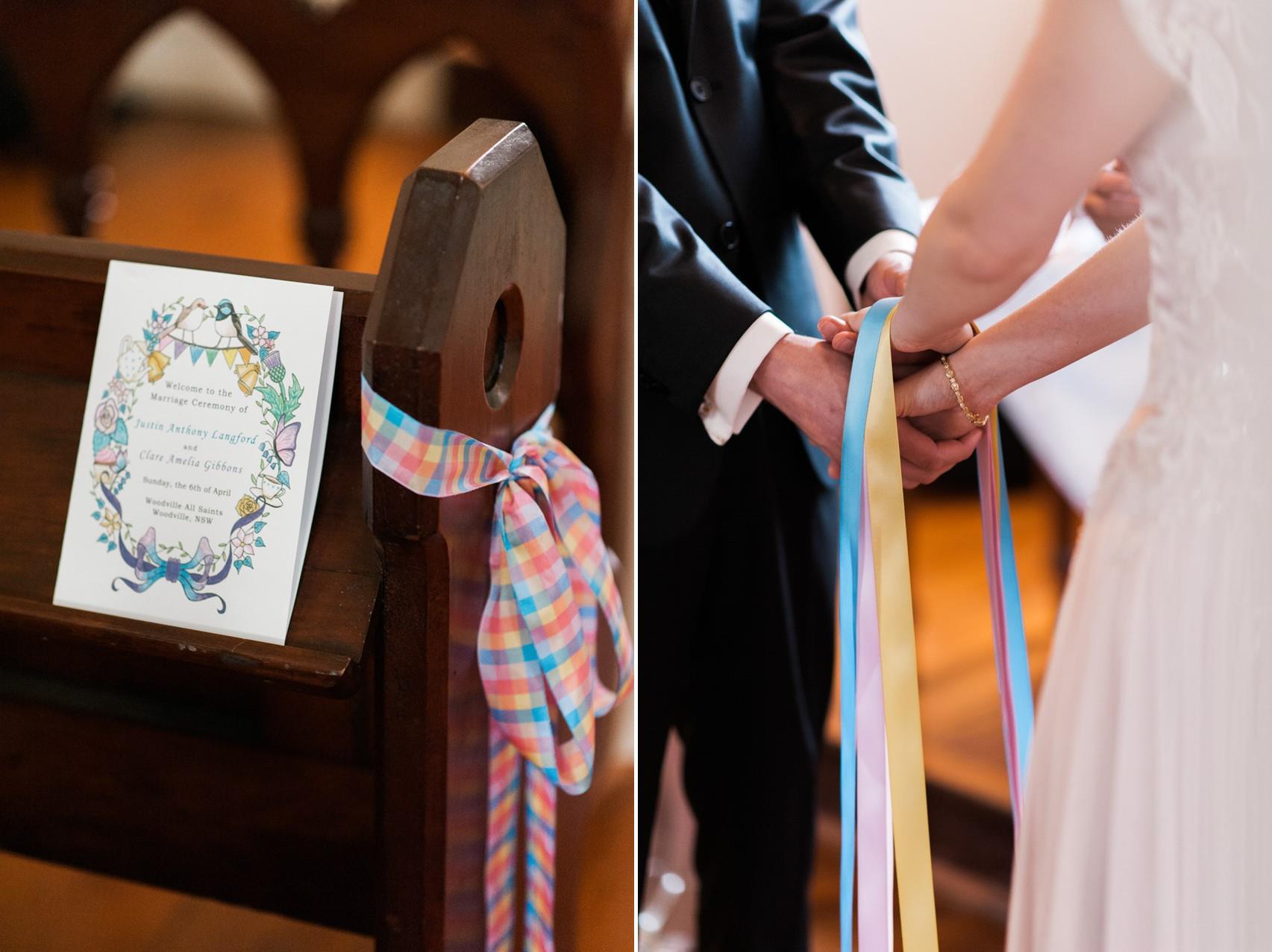 Handfasting ritual in pastel ribbons