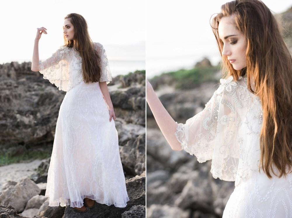 Delicate bridal cape