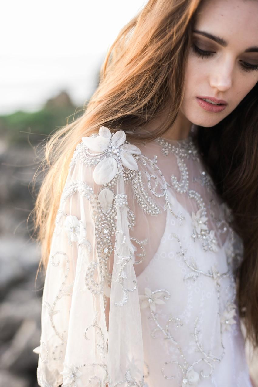 Elegant embellished bridal cape